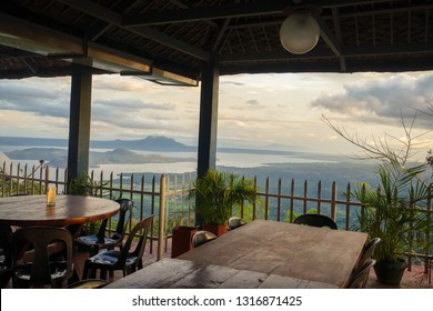 Taal Volcano Overlook With Tables and Chairs - Tagaytay, Philippines