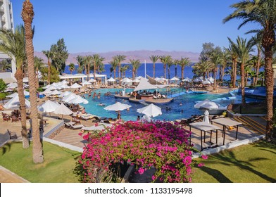 Taba, Egypt - August 10, 2011: Swimming pool in Hilton Hotel in Taba resort town, near the northern tip of the Gulf of Aqaba