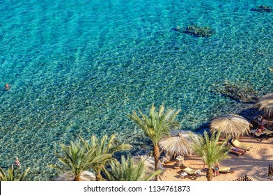 Taba, Egypt - August 10, 2011: Red Sea seen from a hotel in Taba resort town, near the northern tip of the Gulf of Aqaba
