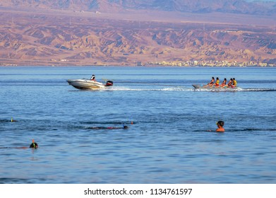 Taba, Egypt - August 11, 2011: So called banana boat in Taba resort town, near the northern tip of the Gulf of Aqaba