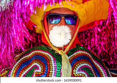"Tabajara City, Olinda, Pernambuco, Brazil. February 2020, Brazilian Carnival. Popular Culture, Meeting of ""Maracatus de baque solto"" (""rural maracatu""), music and dance typical of Pernambuco."