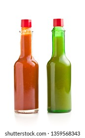 Tabasco hot sauce bottle. Red and green sauce isolated on white background.