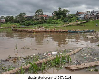 Tabatinga, Brazil - November 25, 2018: New wooden boat in  the port of Amazon river. South America. Amazon River.  Tres fronteras. Rain Forest of Amazonia.