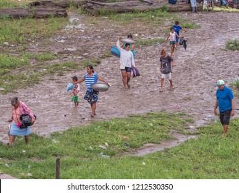 Tabatinga, Brazil - September 15, 2018: Rainy day  in the port of Amazon river