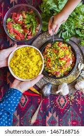 Tabbouleh - Arabic salad with bulgur and couscous, parsley, tomatoes, onion, lemon. Family have, eats Arabic traditional food.