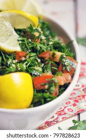 Tabbouleh, lebanese parsley salad, close up