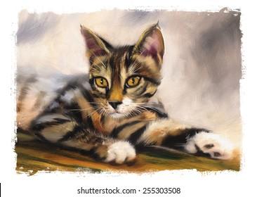tabby kitten portrait oil painting torn edges