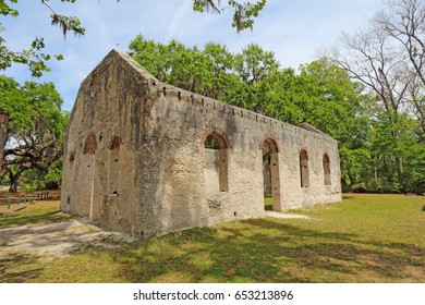 Tabby wall ruins of the Chapel of Ease from Saint Helenas Episcopal Church on Saint Helena Island in Beaufort County, South Carolina