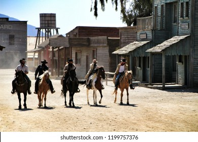 Tabernas, Almeria, Spain- September 23, 2018: Actors performing a show in a village of the Far West in the desert of Tabernas, Almeria, Spain