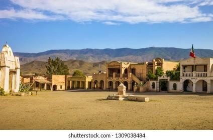 TABERNAS DESERT, ALMERIA ANDALUSIA / SPAIN - SEPTEMBER 18, 2011: Spaghetti western movie location set on September 18, 2011 in Tabernas desert. Old mexican village view.