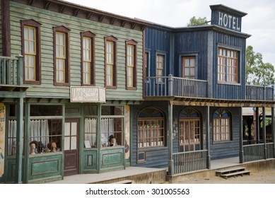 TABERNAS DESERT, ALMERIA, SPAIN - September 19, 2014: Hotel and hat shop in the western town