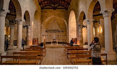 Tabgha, Israel - 05-05-2018: Israel  Church of the Multiplication of the Loaves and Fish or The Church of the Multiplication in Tabgha, in Sea of Galilee