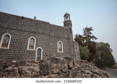 Tabgha, Israel - December 20 2017: The Church of the Primacy of St. Peter in Tabgha by the Sea of Galilee, Israel.