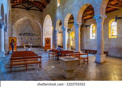 TABGHA, ISRAEL, SEPTEMBER 15, 2018: Interior of the Church of the multiplication of the loaves and fishes in Tabgha, Israel