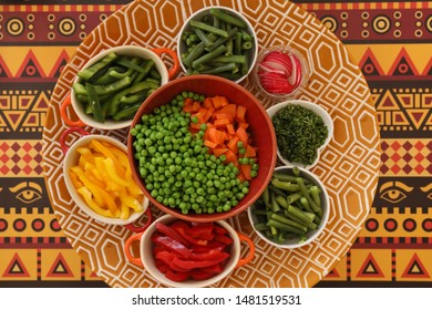Table From Above. Carrot, Peas, Parsley, Beans, Capsicum (Red, Green And Yellow), Radish