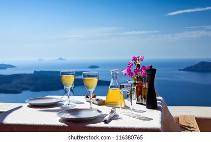 Table above sea for two. Greece, Santorini island