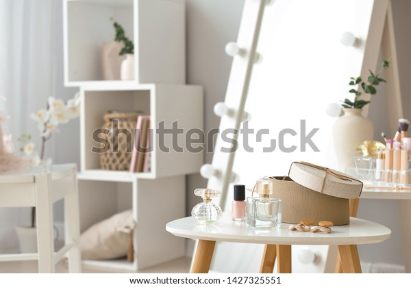 Table Accessories Cosmetics Modern Makeup Room Stock Photo Edit Now 1427325551
