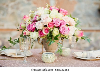 table appointments and flower composition