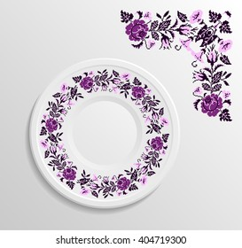 Table appointments in restaurant.. Decorative plate with round ethnic ornament. Ukrainian style.  Floral rose pattern. Vintage background of napkin. Violet and pink tones.
