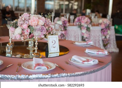 Table appointments in restaurant. Wedding preparation