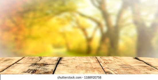 Table background and autumn time. Free space for your decoration.