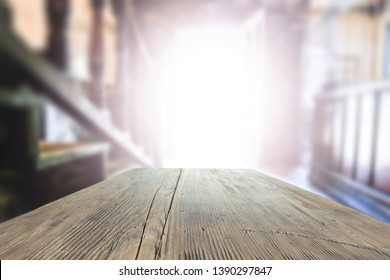 Table background and blurred background of window. Sunny day and sun light.