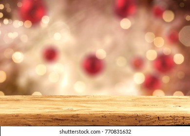 Table background and christmas background decoration. Free space for your product.