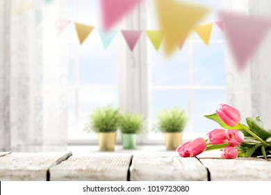 Table background of easter time and free space for your decoration.