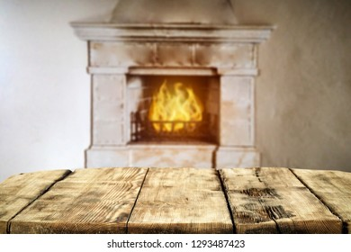 Table background and fireplace