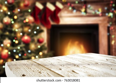 table background and fireplace with christmas tree
