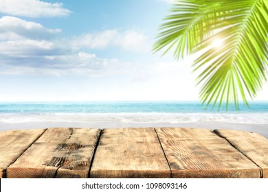 Table background of free space and beach landscape