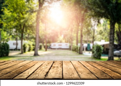 Table background of free space and camping background of summer time