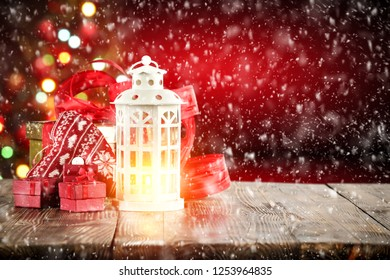 Table background of free space and christmas time