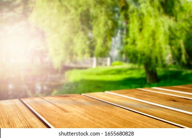 Table background of free space and spring landscape