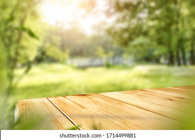 Table background of free space and spring time in garden  - Shutterstock ID 1714499881