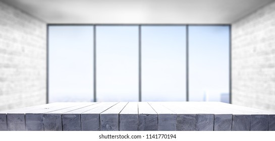 Table background of free space and window decoration.