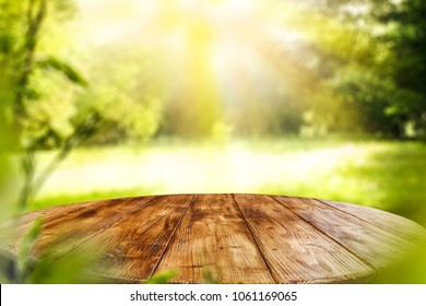 table background of free space for your decoration and green garden background.