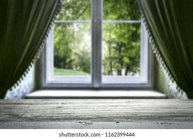 Table background of free space for your decoration and white window space