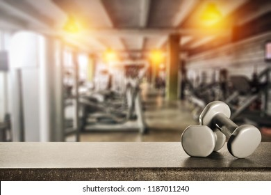 Table background of free space for your decoration and gym interior
