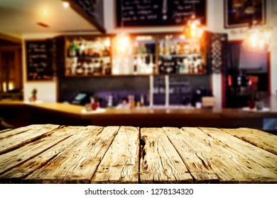 Table background of free space for your decoration and bar