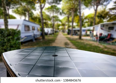 Table background of free space for your decoration and summer time on camping.