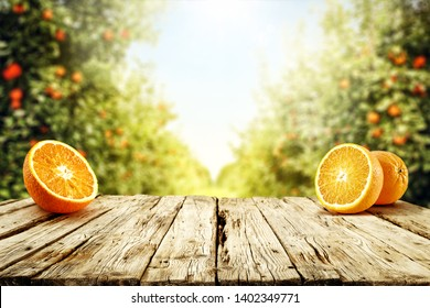Table background of free space for your decoration. Fresh orange fruits and summer landscape of garden with trees and sun light. Summer time.