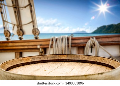 Table background of free space for your decoration and background of old ship and ocean landscape