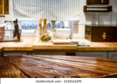 Table background of free space for your decoration and blurred background of home interior with window