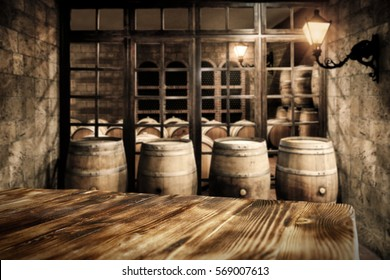 Table background with free space for your wine and background with barrels