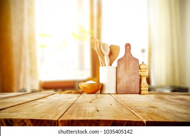Table background in kitchen and blurred background of window space