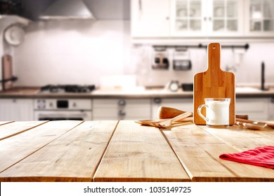 Kitchen Background Milk On Table Stock Photos Images