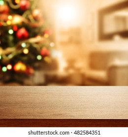 table background with xmas tree and space for your gift or box