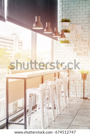 Table Bar Interior Stools Decorate Frames Stock Photo (Edit Now ...