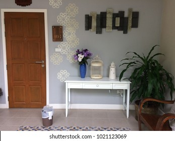 Table and bench for home decor.